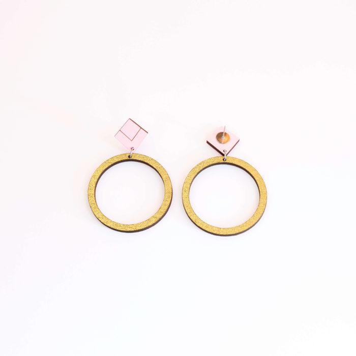 Halo korvakorut kulta glitter & pinkki yläosa, tappikiinnitys