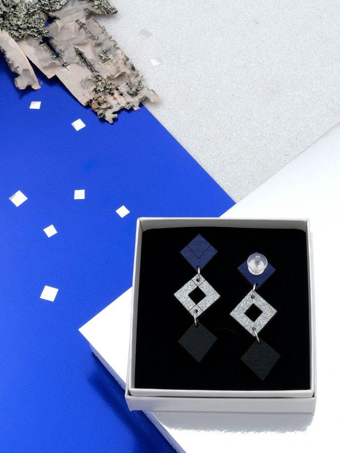 Palana kolmikko korvakorut, joiden värit ylhäältä tummansininen, hopeaglitter sekä musta. Tappikiinnitys korvaan. Silikoninen leveä takaosa.