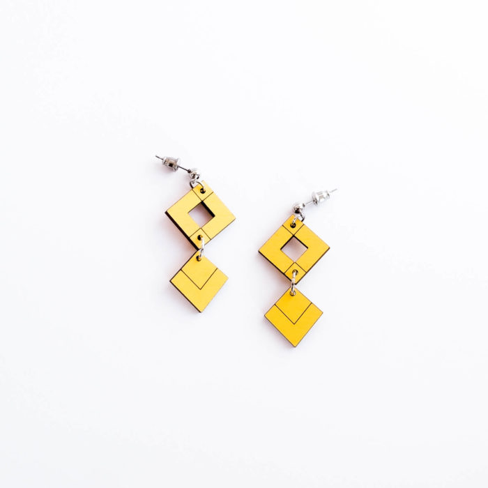 Palana korvakorut kaksikko lyhyt keltainen