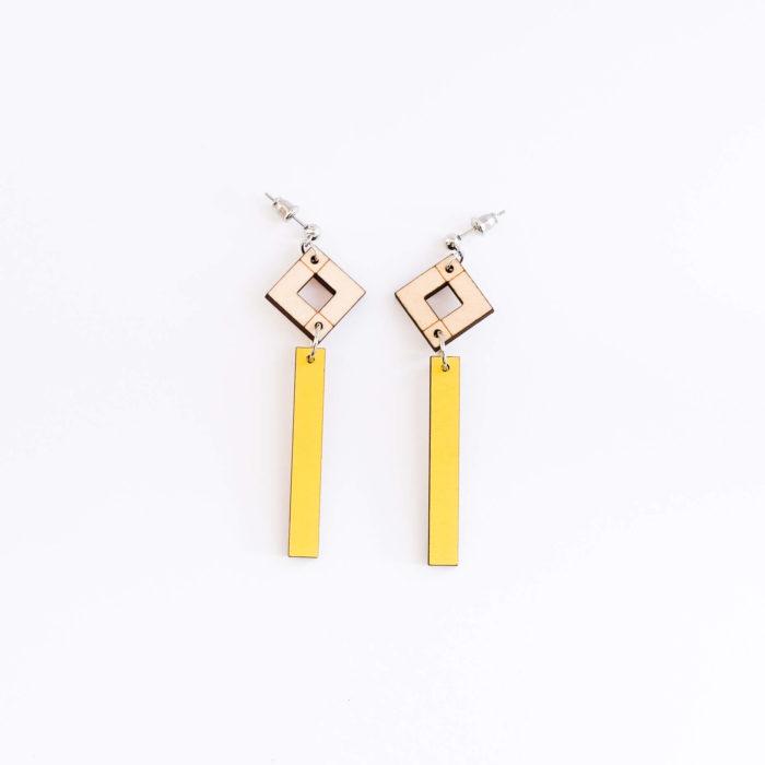 Palana kaksikko pitkä korvakorut keltainen