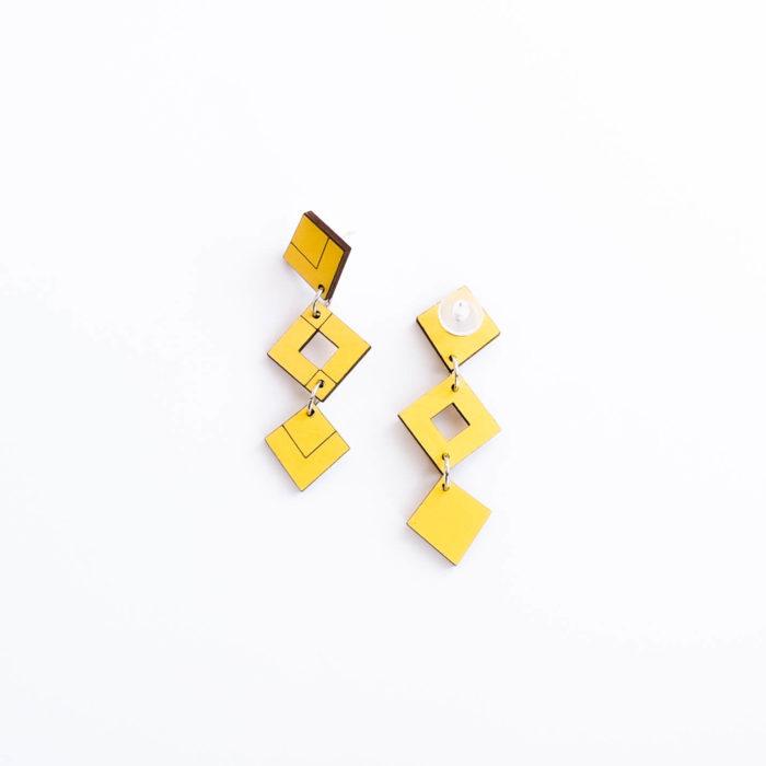 Palana korvakorut kolmikko keltainen, tappikiinnitys